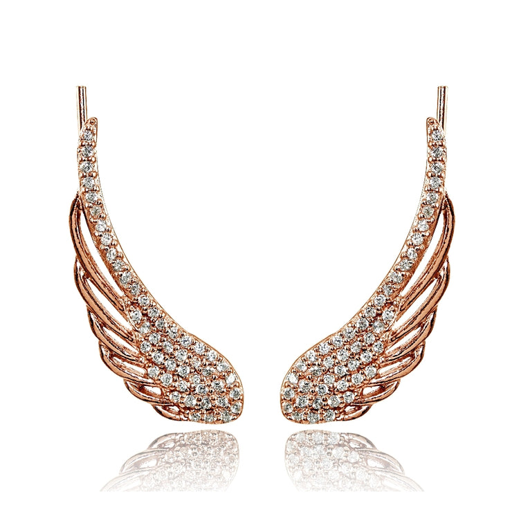 Rose Gold Flashed Sterling Silver Cubic Zirconia Angel Wings Climber Crawler Earrings