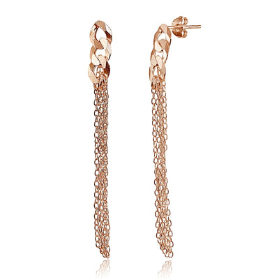 Rose Gold Flashed Sterling Silver Flat Link and Multi-Strand Chain Drop Dangle Earrings