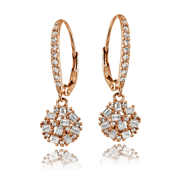 Rose Gold Flashed Sterling Silver Baguette and Round-Cut Cubic Zirconia Cluster Round Leverback Dangle Earrings