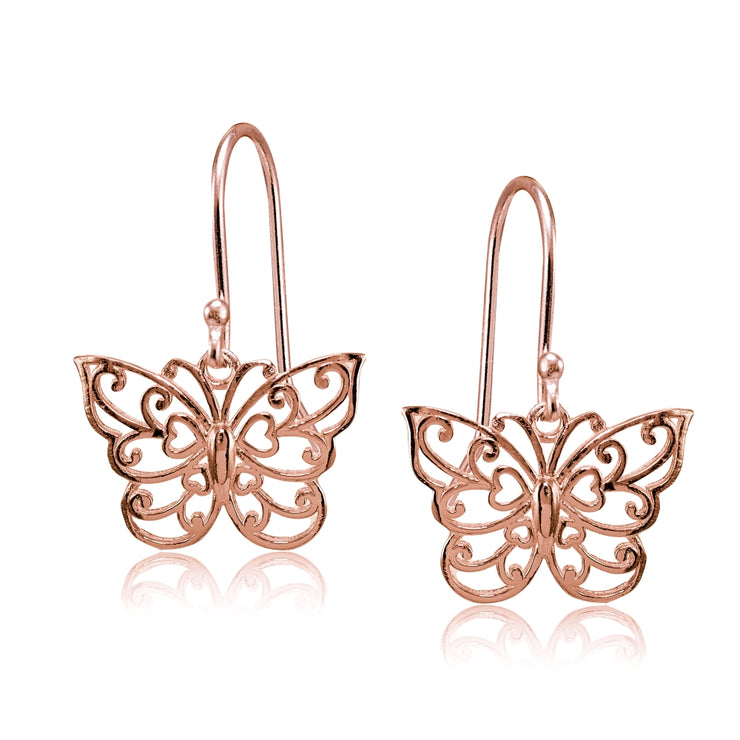 Rose Gold Flashed Sterling Silver High Polished Filigree Butterfly Dangle Earrings