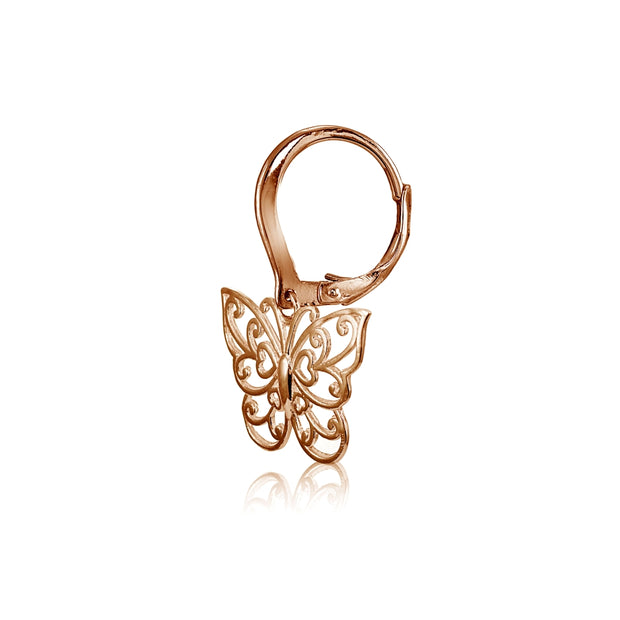 Rose Gold Flashed Sterling Silver High Polished Filigree Butterfly Leverback Earrings