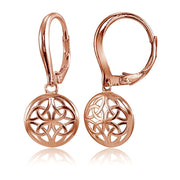 Rose Gold Flashed Sterling Silver High Polished Filigree Round Dangle Leverback Earrings