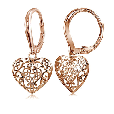 Rose Gold Flashed Sterling Silver High Polished Filigree Heart Danlge Leverback Earrings