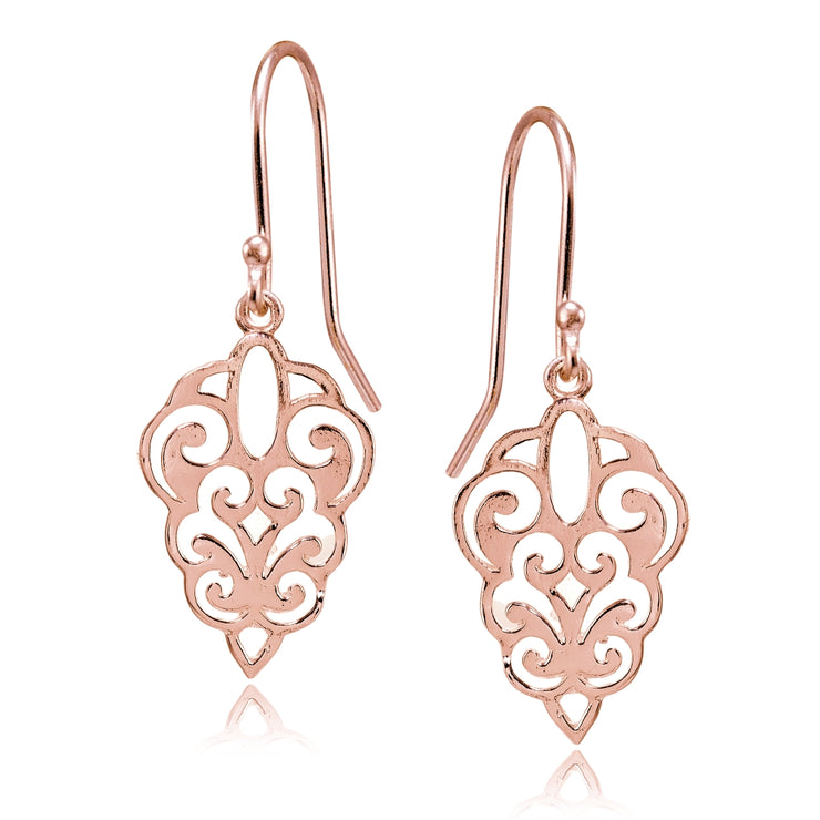 Rose Gold Flashed Sterling Silver High Polished Filigree Dangle Earrings