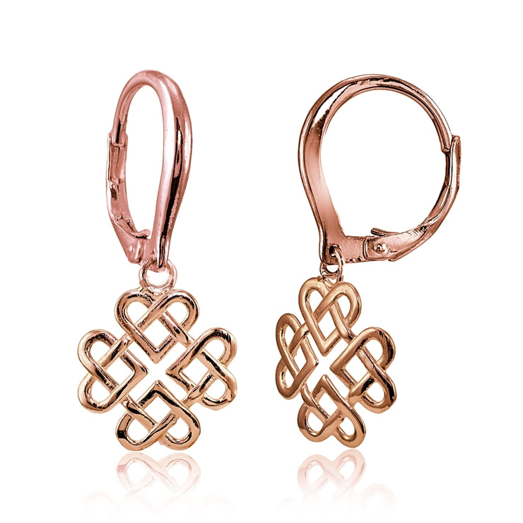 Rose Gold Flashed Sterling Silver High Polished Celtic Love Knot Dangle Leverback Earrings