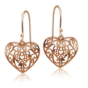 Rose Gold Flashed Sterling Silver High Polished Heart Filigree Dangle Earrings