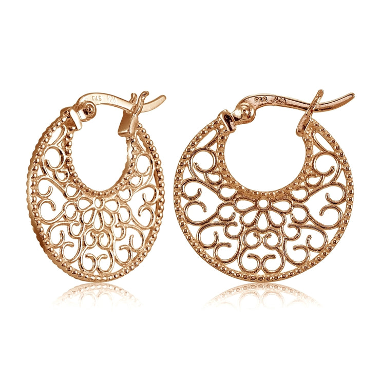 Rose Gold Flashed Sterling Silver High Polished Medallion Filigree Round Flat Earrings