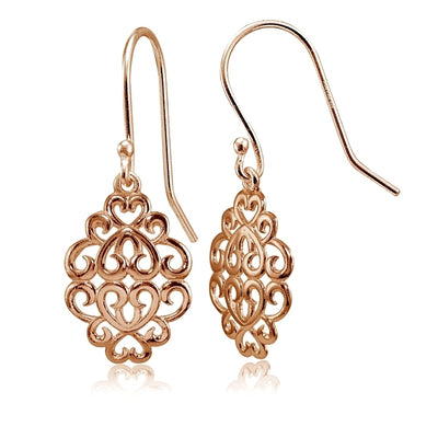 Rose Gold Plated Sterling Silver High Polished Filigree Dangle Earrings
