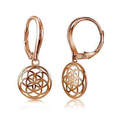 Rose Gold Flashed Sterling Silver High Polished Celtic Knot Leverback Earrings