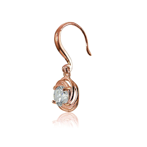 Rose Gold Flashed Sterling Silver Cubic Zirconia Love Knot Dangle Earrings