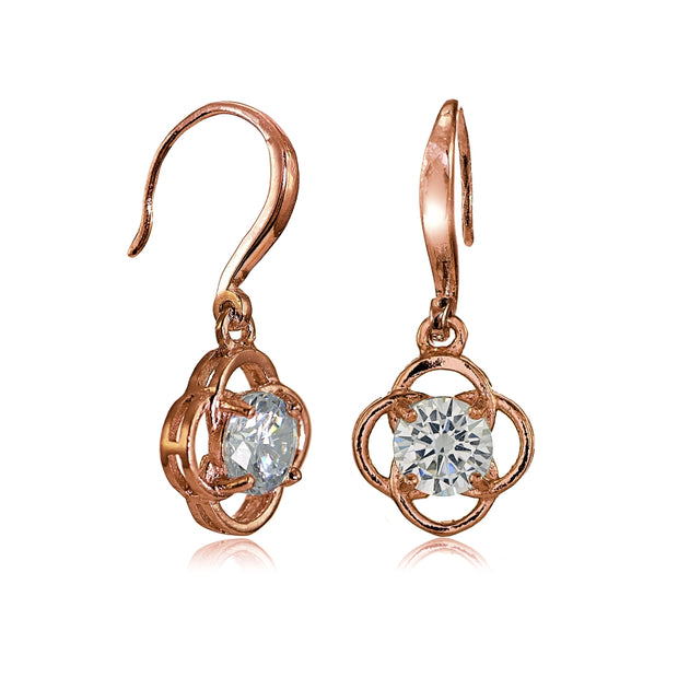 Rose Gold Flashed Sterling Silver Cubic Zirconia Flower Knot Dangle Earrings