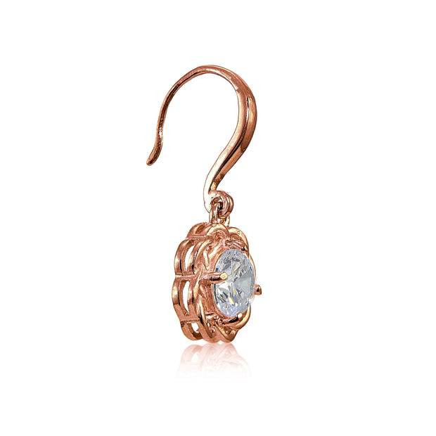 Rose Gold Flashed Sterling Silver High Polished Cubic Zirconia Celtic Love Knot Dangle Earrings