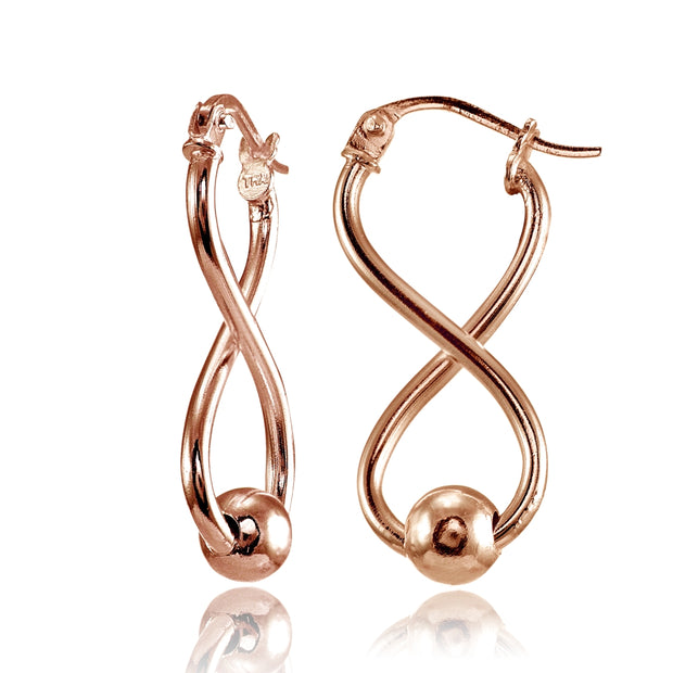Rose Gold Flashed Sterling Silver Infinity Figure Eight Bead Drop Earrings