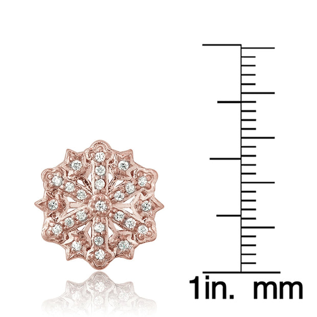 Rose Gold Flashed Sterling Silver Cubic Zirconia Snowflake Stud Earrings