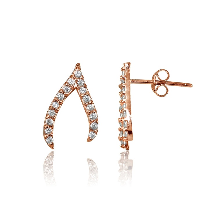 Rose Gold Flashed Sterling Silver Cubic Zirconia Wish Bone Stud Earrings