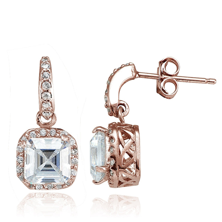 Rose Gold Flashed Sterling Silver Cubic Zirconia Square Dangle Earrings