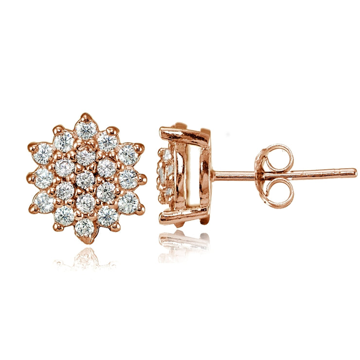 Rose Gold Flashed Sterling Silver Cubic Zirconia Floral Stud Earrings