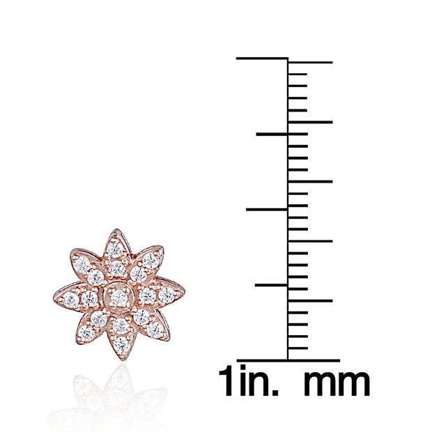 Rose Gold Flashed Sterling Silver Cubic Zirconia Flower Stud Earrings