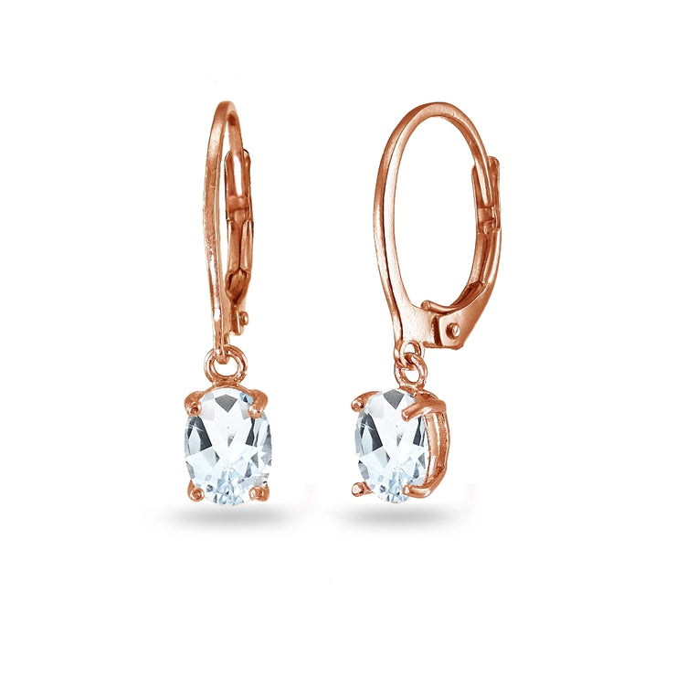 Rose Gold Flashed Sterling Silver Aquamarine 7x5mm Oval Dangle Leverback Earrings