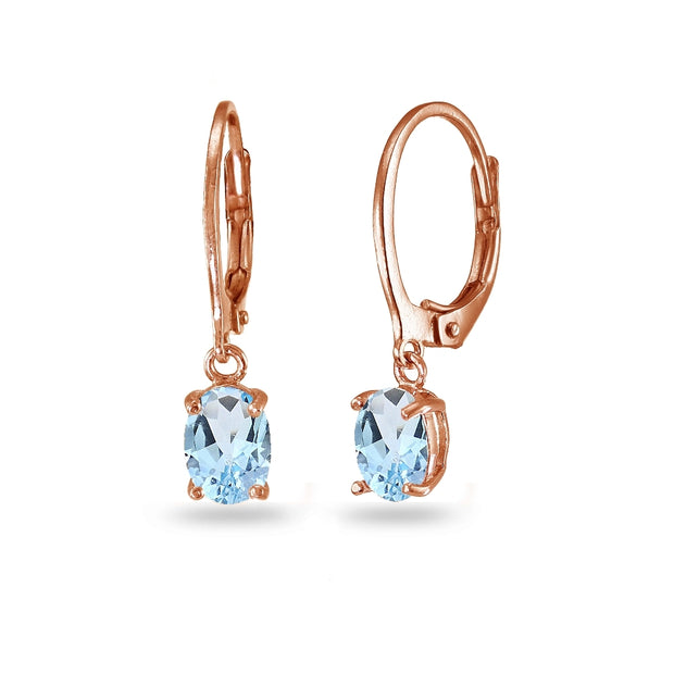 Rose Gold Flashed Sterling Silver Blue Topaz 7x5mm Oval Dangle Leverback Earrings