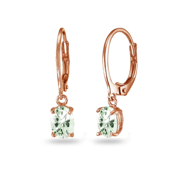 Rose Gold Flashed Sterling Silver Green Amethyst 7x5mm Oval Dangle Leverback Earrings