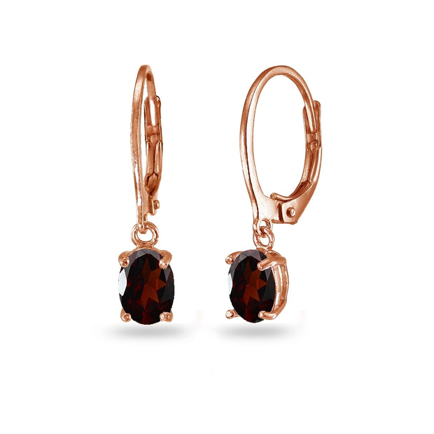 Rose Gold Flashed Sterling Silver Garnet 7x5mm Oval Dangle Leverback Earrings