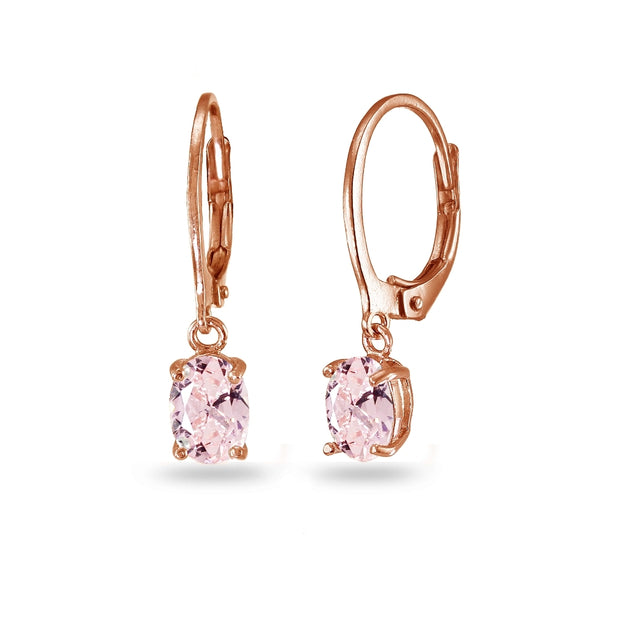 Rose Gold Flashed Sterling Silver Created Morganite 7x5mm Oval Dangle Leverback Earrings