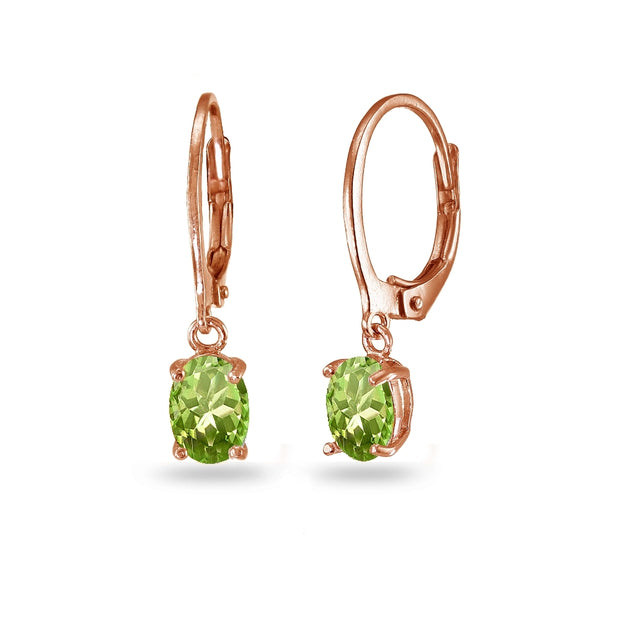 Rose Gold Flashed Sterling Silver Peridot 7x5mm Oval Dangle Leverback Earrings