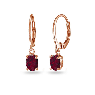 Rose Gold Plated Sterling Silver Created Ruby 7x5mm Oval Dangle Leverback Earrings