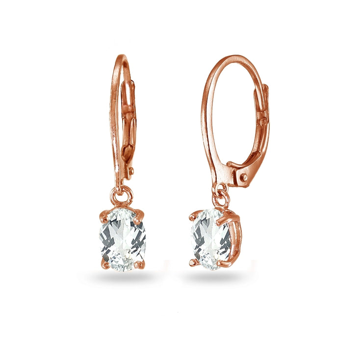 Rose Gold Flashed Sterling Silver White Topaz 7x5mm Oval Dangle Leverback Earrings