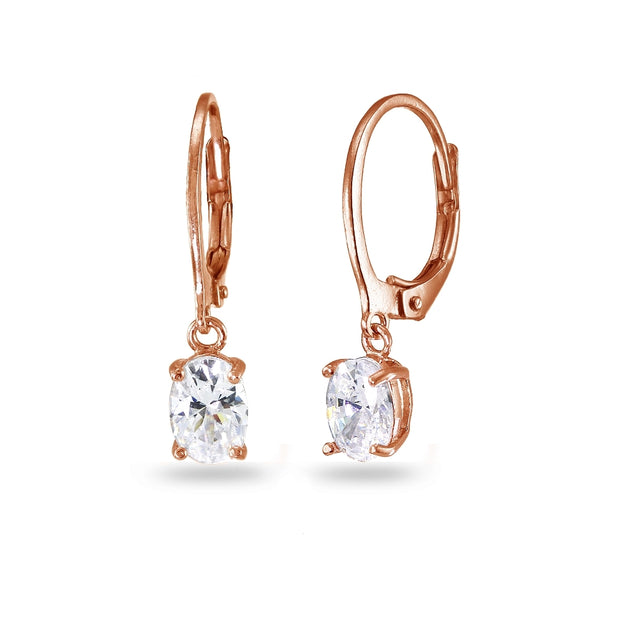 Rose Gold Flashed Sterling Silver Cubic Zirconia 7x5mm Oval Dangle Leverback Earrings