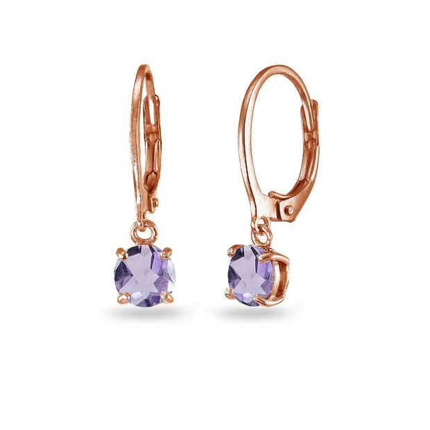 Rose Gold Flashed Sterling Silver Amethyst 6mm Round Dangle Leverback Earrings