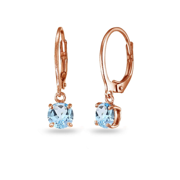 Rose Gold Flashed Sterling Silver Blue Topaz 6mm Round Dangle Leverback Earrings