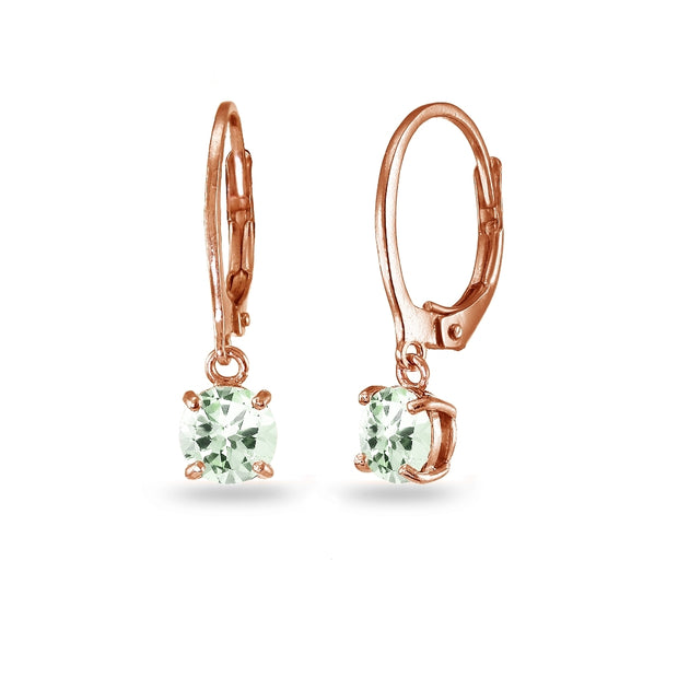 Rose Gold Flashed Sterling Silver Green Amethyst 6mm Round Dangle Leverback Earrings