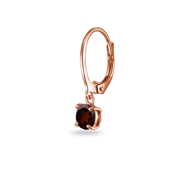 Rose Gold Flashed Sterling Silver Garnet 6mm Round Dangle Leverback Earrings