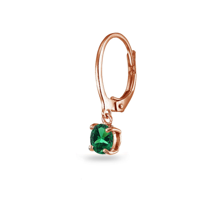 Rose Gold Flashed Sterling Silver Created Emerald 6mm Round Dangle Leverback Earrings