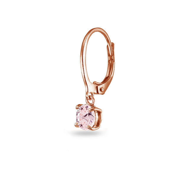 Rose Gold Flashed Sterling Silver Created Morganite 6mm Round Dangle Leverback Earrings