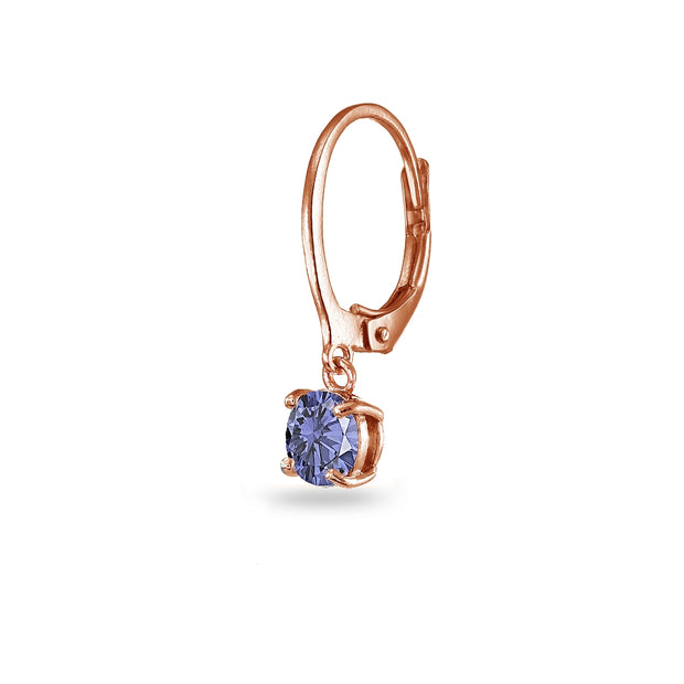 Rose Gold Flashed Sterling Silver Created Tanzanite 6mm Round Dangle Leverback Earrings
