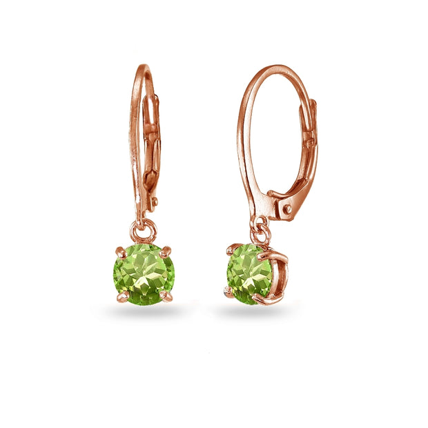 Rose Gold Flashed Sterling Silver Peridot 6mm Round Dangle Leverback Earrings