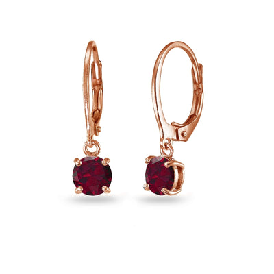 Rose Gold Flashed Sterling Silver Created Ruby 6mm Round Dangle Leverback Earrings