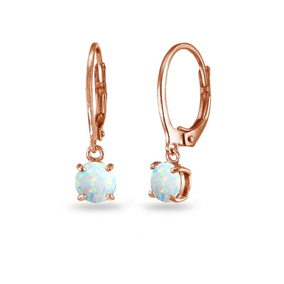 Rose Gold Flashed Sterling Silver Created White Opal 6mm Round Dangle Leverback Earrings