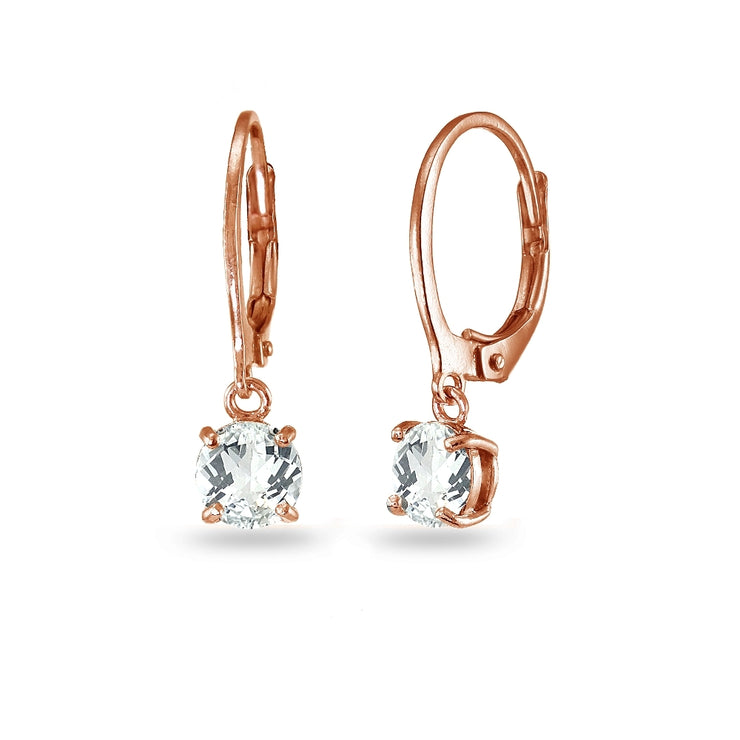 Rose Gold Flashed Sterling Silver White Topaz 6mm Round Dangle Leverback Earrings