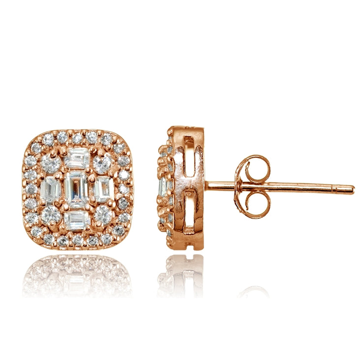 Rose Gold Flashed Silver Cubic Zirconia Baguette and Round Cut Stud Earrings