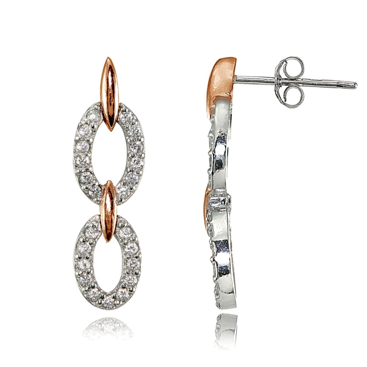 Rose Gold Flashed Silver Two-Tone Cubic Zirconia Double Oval Link Dangle Earrings