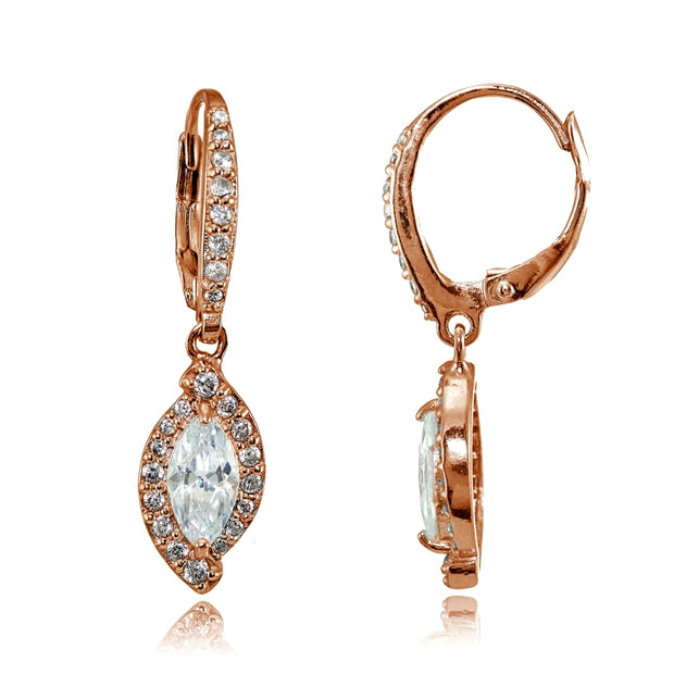 Rose Gold Flashed Silver Cubic Zirconia Marquise Dangle Leverback Earrings