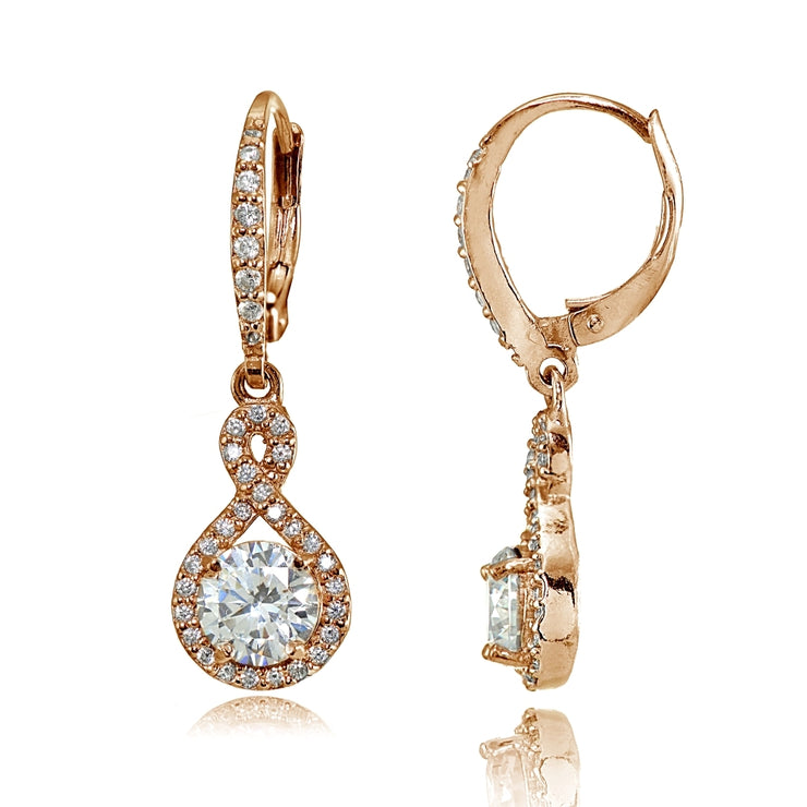 Rose Gold Flashed Sterling Silver Cubic Zirconia Infinity Dangle Leverback Earrings