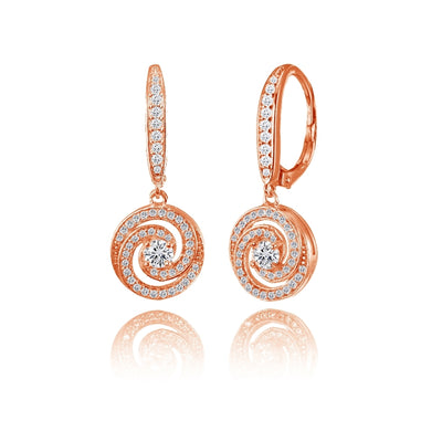 Rose Gold Flashed Sterling Silver Cubic Zirconia Love Knot Swirl Dangle Leverback Earring