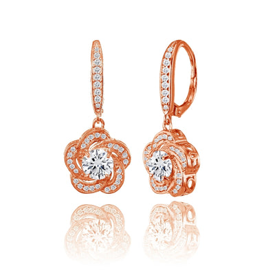 Rose Gold Flashed Sterling Silver Cubic Zirconia Flower Swirl Dangle Leverback Earrings
