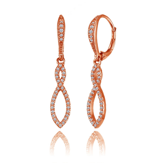 Rose Gold Flashed Silver Cubic Zirconia Infinity Twist Drop Leverback Earrings