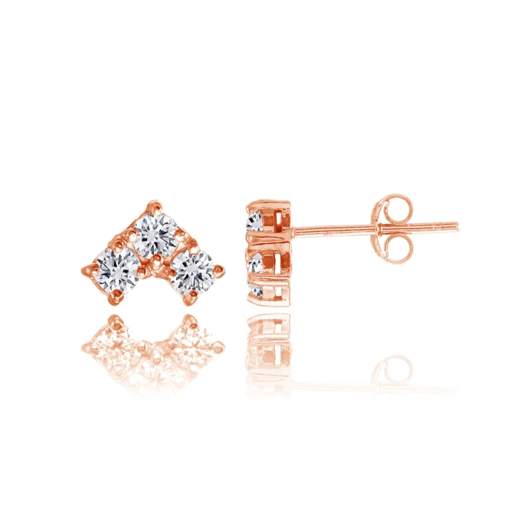 Rose Gold Flashed Sterling Silver Cubic Zirconia 3-Stone Triangle Stud Earrings